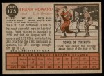 1962 Topps #175 NRM Frank Howard  Back Thumbnail