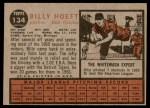 1962 Topps #134 NRM Billy Hoeft   Back Thumbnail