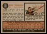 1962 Topps #577  Dave Nicholson  Back Thumbnail