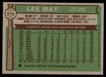 1976 Topps #210  Lee May  Back Thumbnail