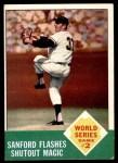 1963 Topps #143   -  Jack Sanford 1962 World Series - Game #2 - Sanford Flashes Shutout Magic Front Thumbnail