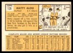 1963 Topps #128  Matty Alou  Back Thumbnail