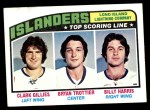 1976 Topps #216   -  Clark Gillies / Bryan Trottier / Billy Harris Top Scoring Line Front Thumbnail