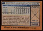 1978 Topps #142  John Montefusco  Back Thumbnail
