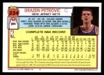 1992 Topps #234  Drazen Petrovic  Back Thumbnail