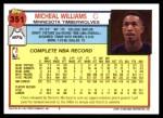 1992 Topps #351  Micheal Williams  Back Thumbnail