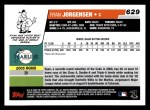 2006 Topps #629   -  Ryan Jorgensen Rookie Card Back Thumbnail