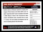 2006 Topps #290   Seattle Mariners Team Back Thumbnail