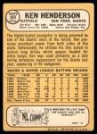 1968 Topps #309  Ken Henderson  Back Thumbnail