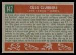 1959 Topps #147   -  Ernie Banks / Dale Long / Walt Moryn Cubs Clubbers Back Thumbnail