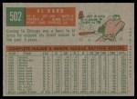 1959 Topps #502  Al Dark  Back Thumbnail