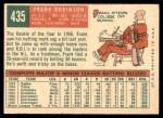 1959 Topps #435  Frank Robinson  Back Thumbnail