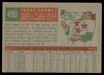 1959 Topps #490  Frank Thomas  Back Thumbnail