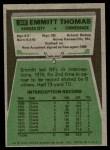 1975 Topps #340  Emmitt Thomas  Back Thumbnail