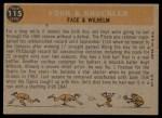 1960 Topps #115   -  Hoyt Wilhelm / Roy Face Fork & Knuckler Back Thumbnail