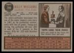 1962 Topps #288  Billy Williams  Back Thumbnail