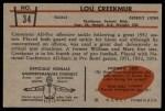 1953 Bowman #34  Lou Creekmur  Back Thumbnail