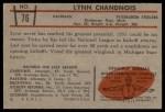 1953 Bowman #76  Lynn Chandnois  Back Thumbnail
