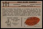 1953 Bowman #33  Dale Samuels  Back Thumbnail