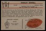 1953 Bowman #58  Harley Sewell  Back Thumbnail