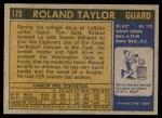 1971 Topps #173  Roland Taylor  Back Thumbnail
