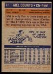 1972 Topps #67  Mel Counts   Back Thumbnail