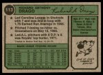 1974 Topps #113  Dick Drago  Back Thumbnail