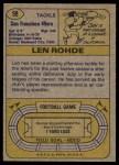 1974 Topps #98 ONE Len Rohde  Back Thumbnail