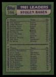 1982 Topps #164   -  Tim Raines / Rickey Henderson SB Leaders   Back Thumbnail