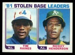 1982 Topps #164   -  Tim Raines / Rickey Henderson SB Leaders   Front Thumbnail
