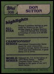 1982 Topps #306   -  Don Sutton In Action Back Thumbnail
