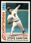 1982 Topps #1   -  Steve Carlton  Highlights Front Thumbnail