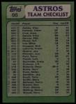 1982 Topps #66   -  Nolan Ryan / Art Howe Astros Leaders Back Thumbnail