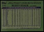 1982 Topps #270  Rusty Staub  Back Thumbnail
