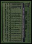 1982 Topps #365  Bill Madlock  Back Thumbnail