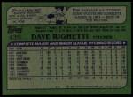 1982 Topps #439  Dave Righetti  Back Thumbnail