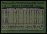 1982 Topps #444  Terry Forster  Back Thumbnail