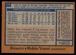 1978 Topps #173  Robin Yount  Back Thumbnail