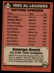 1986 Topps #714   -  George Brett All-Star Back Thumbnail