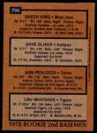 1978 Topps #704   -  Lou Whitaker / Gart lorg / Dave Oliver / Sam Perlozzo Rookie 2nd Basemen   Back Thumbnail