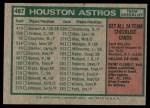 1975 Topps #487   -  Preston Gomez Astros Team Checklist Back Thumbnail