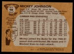 1981 Topps #98 MW Mickey Johnson  Back Thumbnail