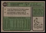 1974 Topps #463  Pat Dobson  Back Thumbnail