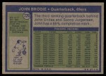 1972 Topps #220  John Brodie  Back Thumbnail