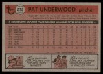 1981 Topps #373  Pat Underwood  Back Thumbnail