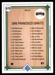 1989 Upper Deck #678   -  Will Clark San Francisco Giants Team Back Thumbnail