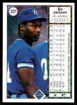 1989 Upper Deck #221  Bo Jackson  Back Thumbnail