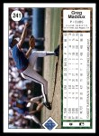 1989 Upper Deck #241  Greg Maddux  Back Thumbnail
