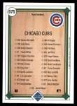 1989 Upper Deck #675   -  Ryne Sandberg Chicago Cubs Team Back Thumbnail