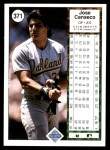 1989 Upper Deck #371  Jose Canseco  Back Thumbnail